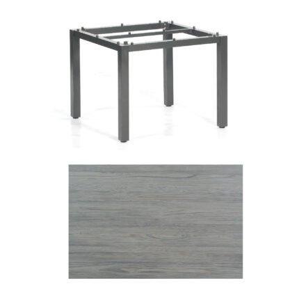 """SonnenPartner Tisch """"Base"""", Gestell Aluminium anthrazit, Tischplatte HPL Vintageoptik, 90x90 cm"""