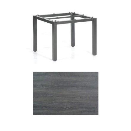 """SonnenPartner Tisch """"Base"""", Gestell Aluminium anthrazit, Tischplatte HPL Pinie dunkel, 90x90 cm"""