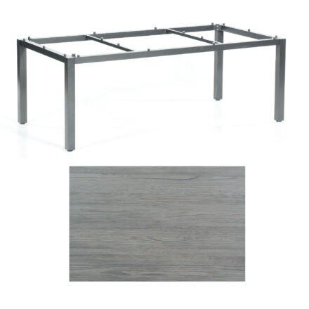 """SonnenPartner Tisch """"Base"""", Gestell Aluminium anthrazit, Tischplatte HPL Vintageoptik, 200x100 cm"""