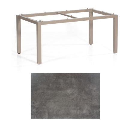 """SonnenPartner Tisch """"Base"""", Gestell Aluminium champagner, Tischplatte HPL Beton dunkel , 160x90 cm"""