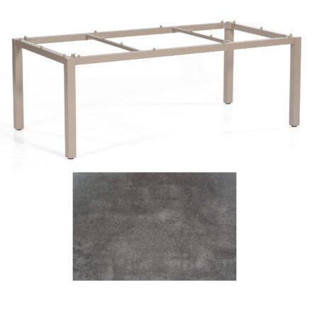 """SonnenPartner Tisch """"Base"""", Gestell Aluminium champagner, Tischplatte HPL Beton dunkel , 200x100 cm"""
