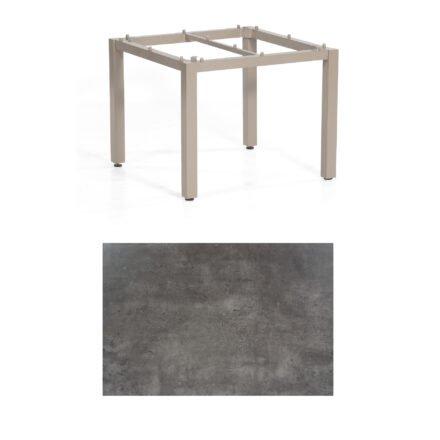 """SonnenPartner Tisch """"Base"""", Gestell Aluminium champagner, Tischplatte HPL Beton dunkel , 90x90 cm"""