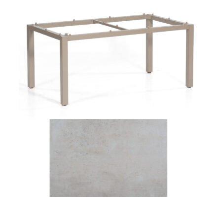 "SonnenPartner Tisch ""Base"", Gestell Aluminium champagner, Tischplatte HPL Beton hell , 160x90 cm"