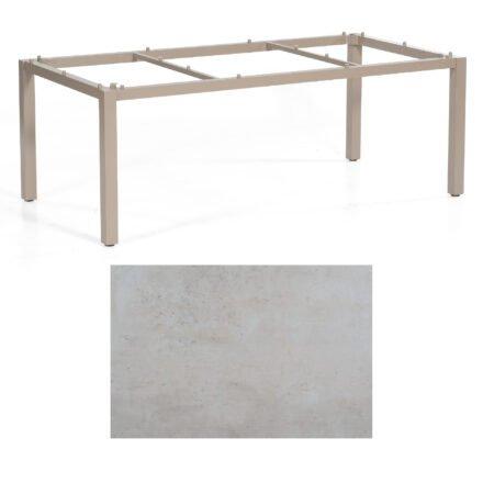 "SonnenPartner Tisch ""Base"", Gestell Aluminium champagner, Tischplatte HPL Beton hell , 200x100 cm"