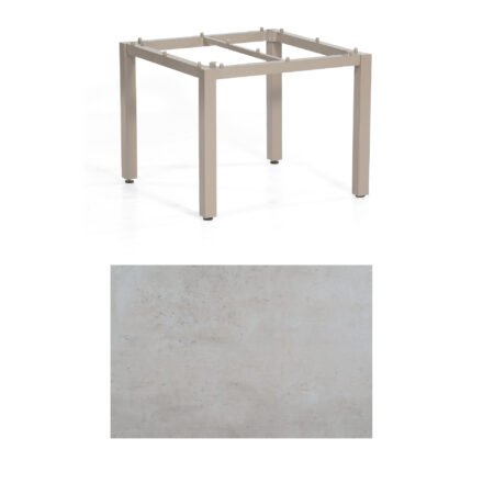"SonnenPartner Tisch ""Base"", Gestell Aluminium champagner, Tischplatte HPL Beton hell , 90x90 cm"