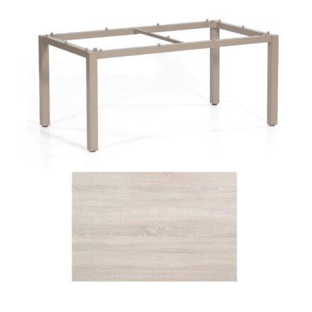 "SonnenPartner Tisch ""Base"", Gestell Aluminium champagner, Tischplatte HPL Eiche sägerau , 160x90 cm"