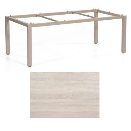 "SonnenPartner Tisch ""Base"", Gestell Aluminium champagner, Tischplatte HPL Eiche sägerau , 200x100 cm"