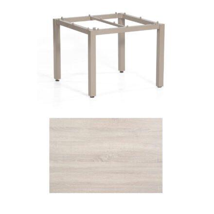 "SonnenPartner Tisch ""Base"", Gestell Aluminium champagner, Tischplatte HPL Eiche sägerau , 90x90 cm"