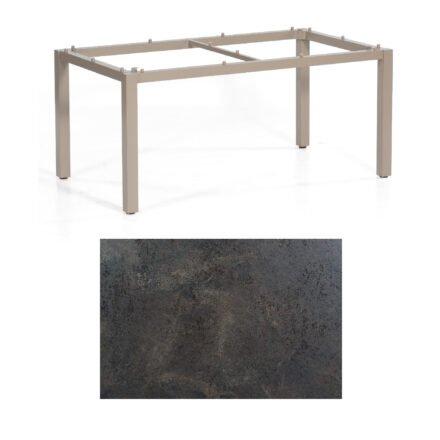 "SonnenPartner Tisch ""Base"", Gestell Aluminium champagner, Tischplatte HPL Keramikoptik , 160x90 cm"