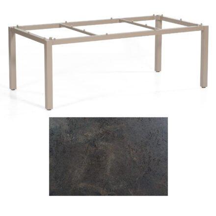 "SonnenPartner Tisch ""Base"", Gestell Aluminium champagner, Tischplatte HPL Keramikoptik , 200x100 cm"