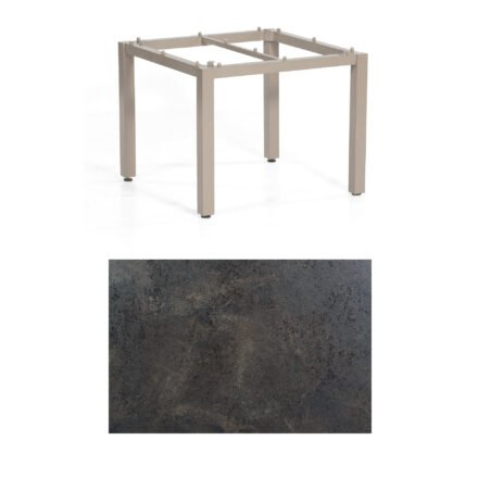 "SonnenPartner Tisch ""Base"", Gestell Aluminium champagner, Tischplatte HPL Keramikoptik , 90x90 cm"