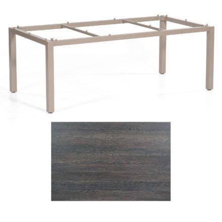 """SonnenPartner Tisch """"Base"""", Gestell Aluminium champagner, Tischplatte HPL Mali wenge, 200x100 cm"""
