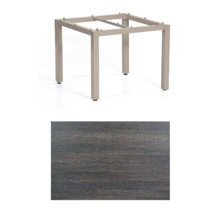 """SonnenPartner Tisch """"Base"""", Gestell Aluminium champagner, Tischplatte HPL Mali wenge, 90x90 cm"""