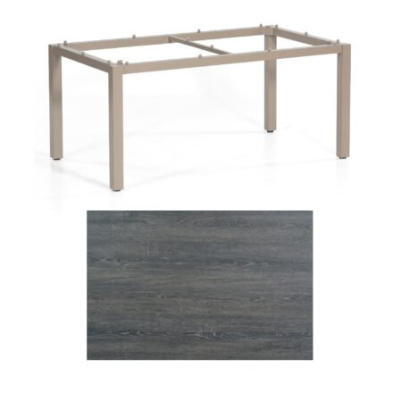 "SonnenPartner Tisch ""Base"", Gestell Aluminium champagner, Tischplatte HPL Pinie dunkel, 160x90 cm"