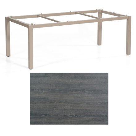 "SonnenPartner Tisch ""Base"", Gestell Aluminium champagner, Tischplatte HPL Pinie dunkel, 200x100 cm"