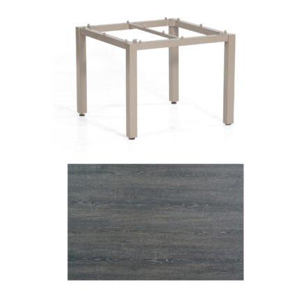 "SonnenPartner Tisch ""Base"", Gestell Aluminium champagner, Tischplatte HPL Pinie dunkel, 90x90 cm"