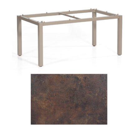 """SonnenPartner Tisch """"Base"""", Gestell Aluminium champagner, Tischplatte HPL Rostoptik, 160x90 cm"""