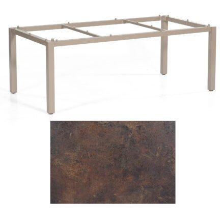 """SonnenPartner Tisch """"Base"""", Gestell Aluminium champagner, Tischplatte HPL Rostoptik, 200x100 cm"""