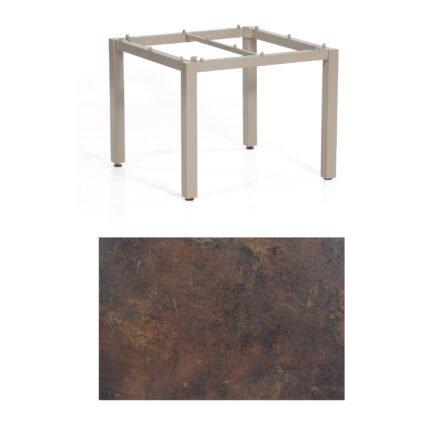 """SonnenPartner Tisch """"Base"""", Gestell Aluminium champagner, Tischplatte HPL Rostoptik, 90x90 cm"""