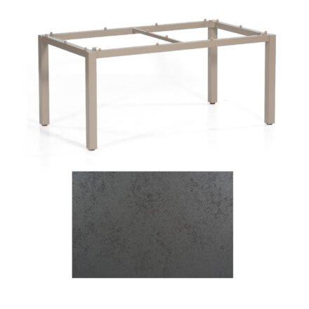 "SonnenPartner Tisch ""Base"", Gestell Aluminium champagner, Tischplatte HPL Struktura anthrazit, 160x90 cm"