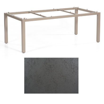 "SonnenPartner Tisch ""Base"", Gestell Aluminium champagner, Tischplatte HPL Struktura anthrazit, 200x100 cm"