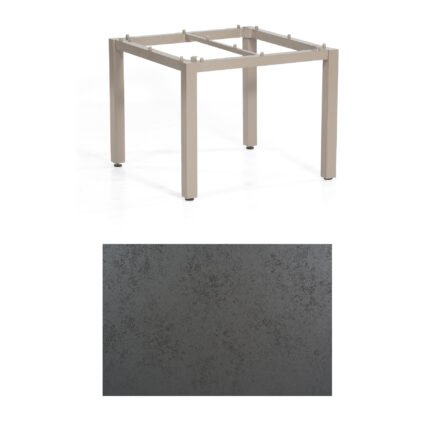 "SonnenPartner Tisch ""Base"", Gestell Aluminium champagner, Tischplatte HPL Struktura anthrazit, 90x90 cm"