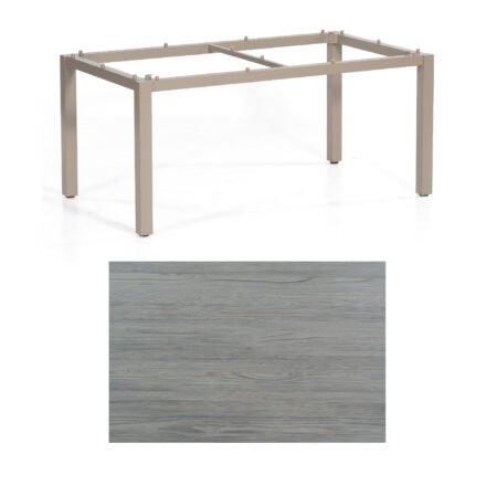"SonnenPartner Tisch ""Base"", Gestell Aluminium champagner, Tischplatte HPL Vintageoptik, 160x90 cm"