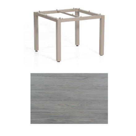 "SonnenPartner Tisch ""Base"", Gestell Aluminium champagner, Tischplatte HPL Vintageoptik, 90x90 cm"