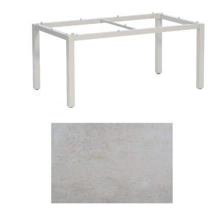 """SonnenPartner Tisch """"Base"""", Gestell Aluminium silber, Tischplatte HPL Beton hell, 160x90 cm"""