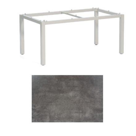 """SonnenPartner Tisch """"Base"""", Gestell Aluminium silber, Tischplatte HPL Beton dunkel, 160x90 cm"""