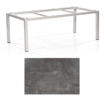 """SonnenPartner Tisch """"Base"""", Gestell Aluminium silber, Tischplatte HPL Beton dunkel, 200x100 cm"""
