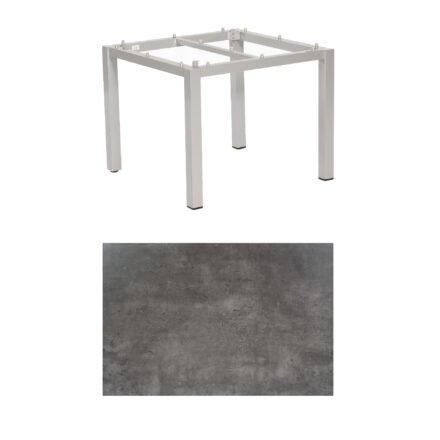 """SonnenPartner Tisch """"Base"""", Gestell Aluminium silber, Tischplatte HPL Beton dunkel, 90x90 cm"""
