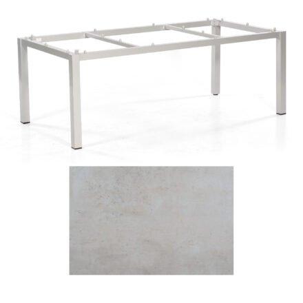 """SonnenPartner Tisch """"Base"""", Gestell Aluminium silber, Tischplatte HPL Beton hell, 200x100 cm"""