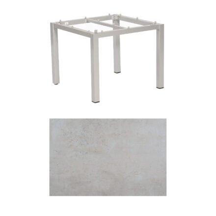 """SonnenPartner Tisch """"Base"""", Gestell Aluminium silber, Tischplatte HPL Beton hell, 90x90 cm"""