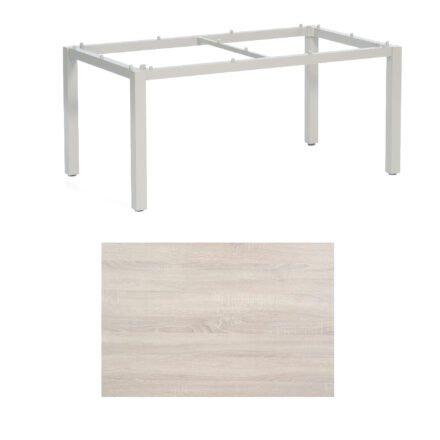 """SonnenPartner Tisch """"Base"""", Gestell Aluminium silber, Tischplatte HPL Eiche sägerau, 160x90 cm"""