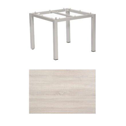"""SonnenPartner Tisch """"Base"""", Gestell Aluminium silber, Tischplatte HPL Eiche sägerau, 90x90 cm"""
