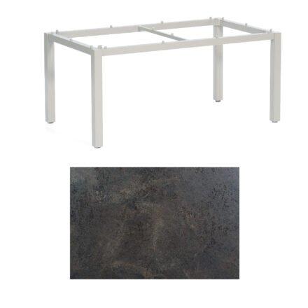 "SonnenPartner Tisch ""Base"", Gestell Aluminium silber, Tischplatte HPL Keramikoptik, 160x90 cm"