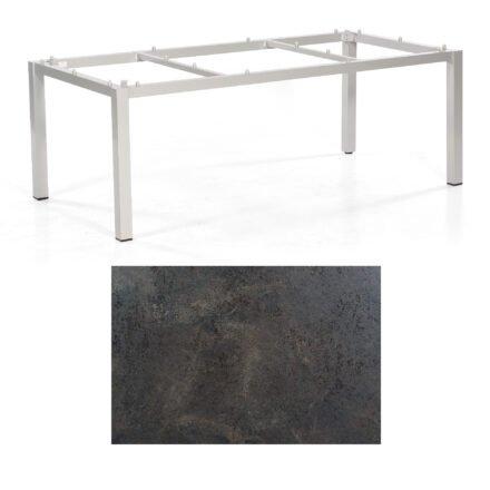 "SonnenPartner Tisch ""Base"", Gestell Aluminium silber, Tischplatte HPL Keramikoptik, 200x100 cm"