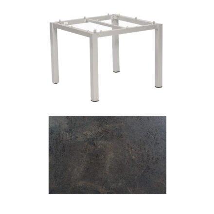 "SonnenPartner Tisch ""Base"", Gestell Aluminium silber, Tischplatte HPL Keramikoptik, 90x90 cm"