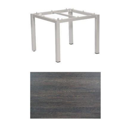"SonnenPartner Tisch ""Base"", Gestell Aluminium silber, Tischplatte HPL Mali wenge, 90x90 cm"