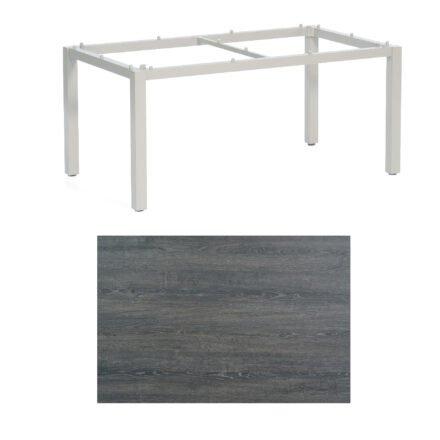 "SonnenPartner Tisch ""Base"", Gestell Aluminium silber, Tischplatte HPL Pinie dunkel, 160x90 cm"