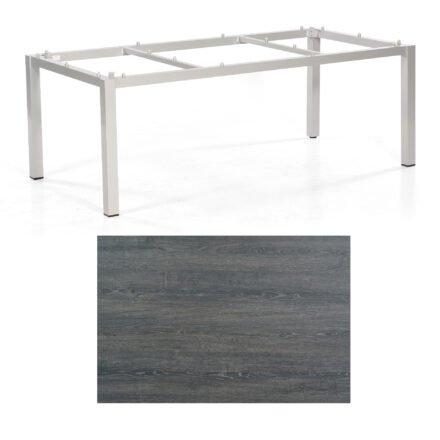 "SonnenPartner Tisch ""Base"", Gestell Aluminium silber, Tischplatte HPL Pinie dunkel, 200x100 cm"