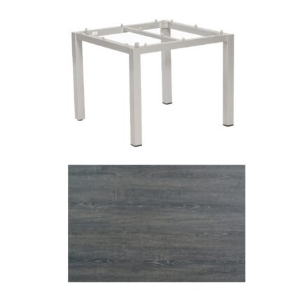 "SonnenPartner Tisch ""Base"", Gestell Aluminium silber, Tischplatte HPL Pinie dunkel, 90x90 cm"