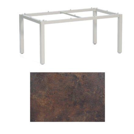 """SonnenPartner Tisch """"Base"""", Gestell Aluminium silber, Tischplatte HPL Rostoptik, 160x90 cm"""