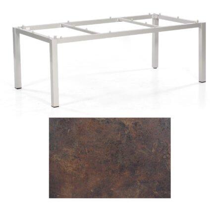 """SonnenPartner Tisch """"Base"""", Gestell Aluminium silber, Tischplatte HPL Rostoptik, 200x100 cm"""