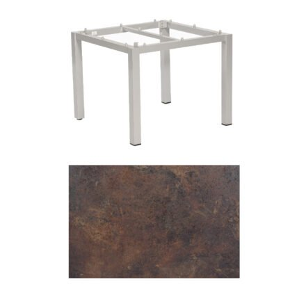 """SonnenPartner Tisch """"Base"""", Gestell Aluminium silber, Tischplatte HPL Rostoptik, 90x90 cm"""
