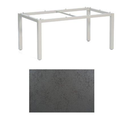 "SonnenPartner Tisch ""Base"", Gestell Aluminium silber, Tischplatte HPL Struktura anthrazit , 160x90 cm"