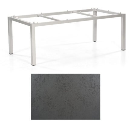 "SonnenPartner Tisch ""Base"", Gestell Aluminium silber, Tischplatte HPL Struktura anthrazit , 200x100 cm"