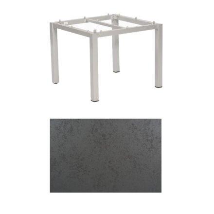 "SonnenPartner Tisch ""Base"", Gestell Aluminium silber, Tischplatte HPL Struktura anthrazit , 90x90 cm"