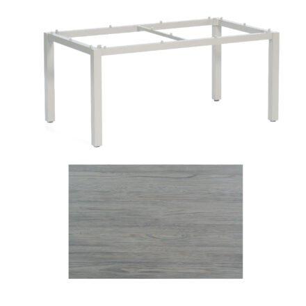 "SonnenPartner Tisch ""Base"", Gestell Aluminium silber, Tischplatte HPL Vintageoptik , 160x90 cm"